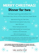 Christmas Dinner Menu for Two - orders accepted until 4pm Dec 20th, or until sold out
