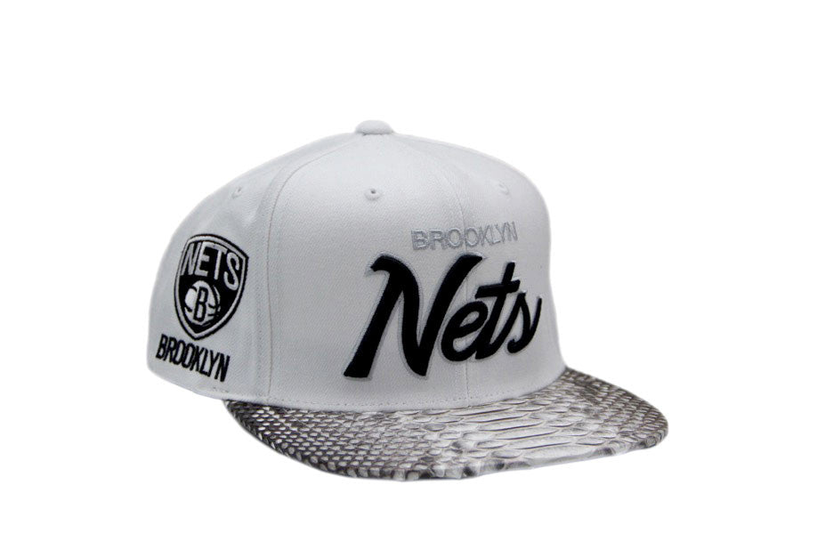 HATSURGEON x Mitchell & Ness Brooklyn Nets The Script White Strapback