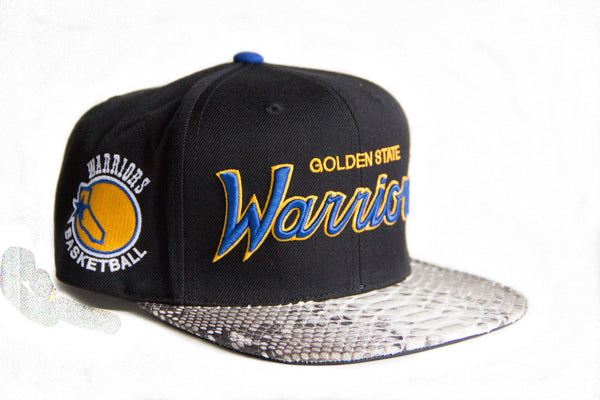 HATSURGEON x Mitchell & Ness Golden State Warriors The Script Black Strapback (Natural)