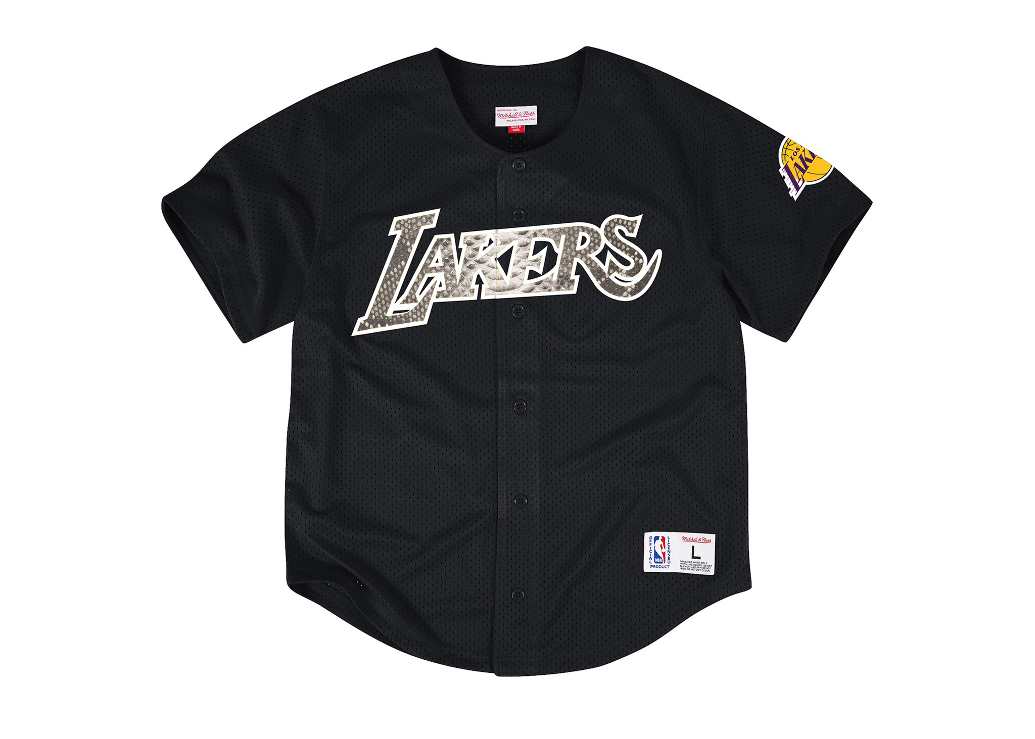 f3a714793ae Mitchell   Ness Mesh Button Front Los Angeles Lakers Python Jersey Shi –  HATSURGEON