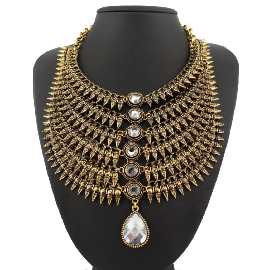 fan necklace product zm rhinestone bronze statement