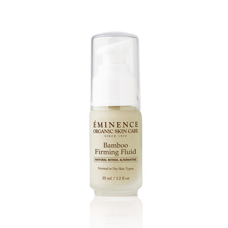 For tighter looking skin, our Bamboo Firming Fluid is the answer. The strengthening agents of bamboo and coconut deeply hydrates, with the help of a Natural Retinol Alternative and Swiss Green Apple Stem Cells.  Retail Size: 1.2 oz / 35 ml