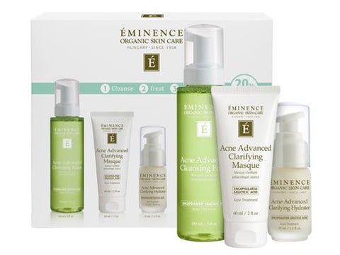 The Acne Advanced 3-Step Treatment System utilizes natural and botanical actives to deliver a proven organic solution for those looking to treat and prevent acne.  The system features full-sized versions of the Cleansing Foam, Clarifying Masque and Clarifying Hydrator. When purchased as a bundle, this three-step system offers a 20% savings over purchasing the products individually. For best results, use these three steps together consistently to treat and prevent acne.