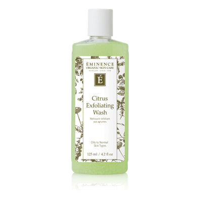 Citrus Exfoliating Wash gently exfoliates and cleans normal-to-oily skin in one easy step. Fresh lime juice removes impurities, while grapefruit seed and silica leave skin appearing luminously clear. Cruelty-free and formulated without parabens, sodium lauryl sulfates, synthetic dyes, petrochemicals, animal by-products, phthalates, GMOs and triclosan.  Retail Size: 4.2 oz / 125 ml