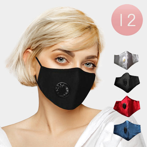 Face Mask with Vent and Filter. 4 solid colors to choose from.