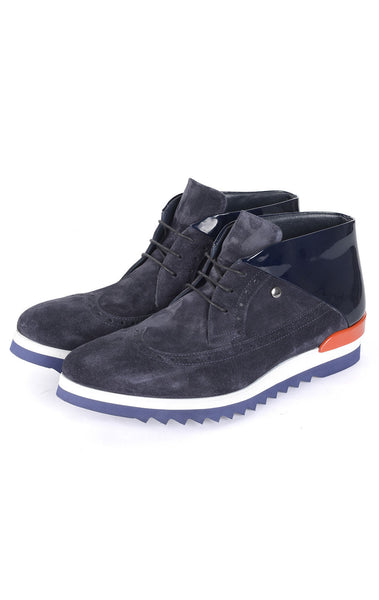 RON TOMSON - Contrast Line Navy Suede Sneakers - RNT23 - 1