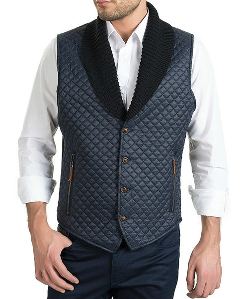 RON TOMSON - Quilted Shawl Collar Vest in Navy- RNT23 - 1