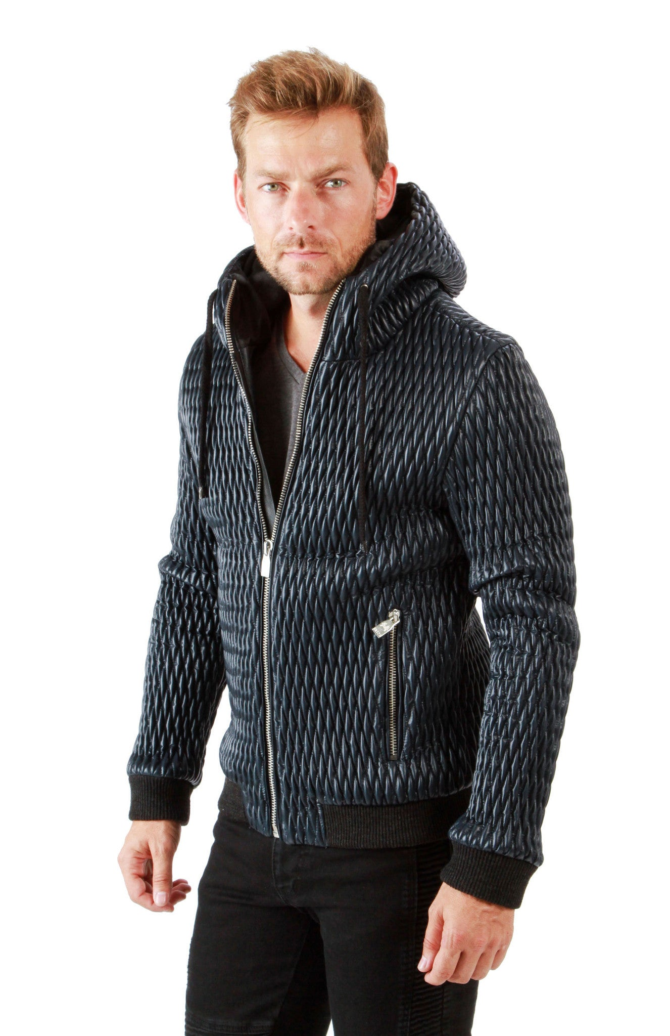 Ron Tomson Men&39s Outerwear | Sports Jacket - Coated Quilt Hoodie