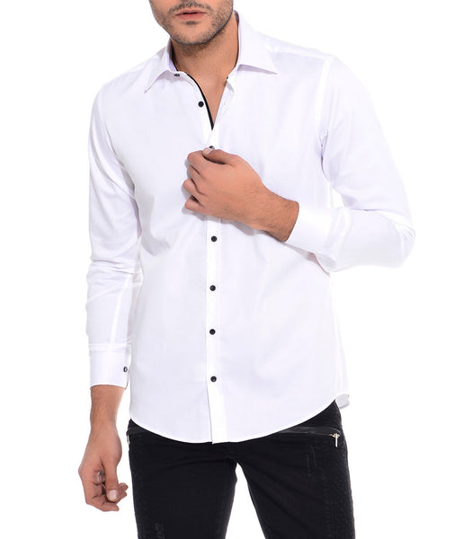 RON TOMSON - Ron Tomson Brand Black Button Cotton Shirt - White - RNT23 - 1