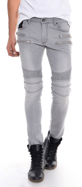 RON TOMSON - Zipper Front Moto Jeans - Grey Silver - RNT23 - 1
