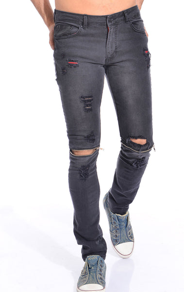 RON TOMSON - Distressed Zipper Jeans - Black - RNT23 - 1