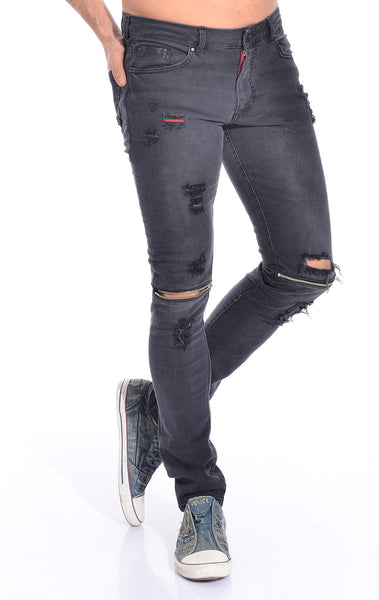 RON TOMSON - Distressed Zipper Jeans - Black - RNT23 - 2