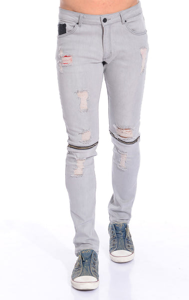 RON TOMSON - Distressed Zipper Jeans - Grey - RNT23 - 1