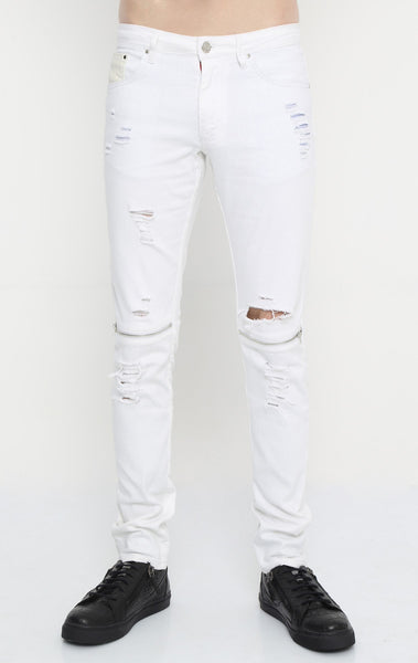RON TOMSON - Distressed Zipper Jeans - White - RNT23 - 1