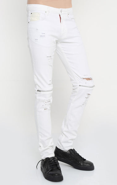 RON TOMSON - Distressed Zipper Jeans - White - RNT23 - 2