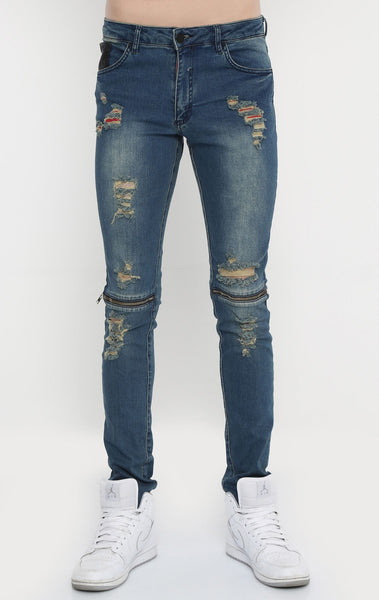 RON TOMSON - Distressed Zipper Jeans - Blue - RNT23 - 1