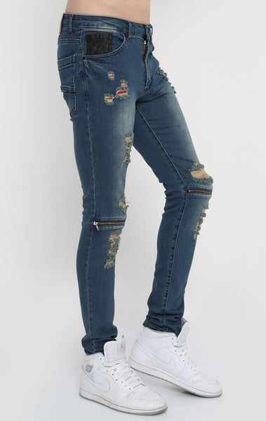 RON TOMSON - Distressed Zipper Jeans - Blue - RNT23 - 2