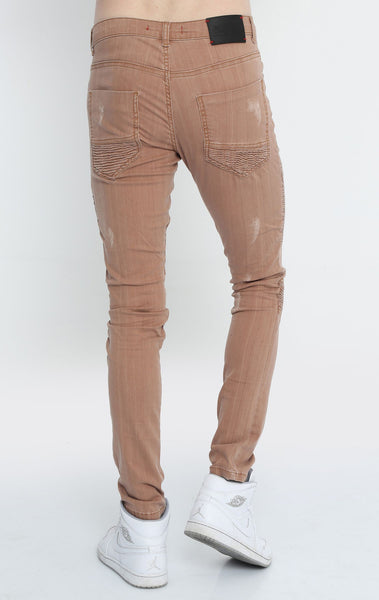 RON TOMSON - Quilted Skinny Washed Moto Jeans  - Brown - RNT23 - 3