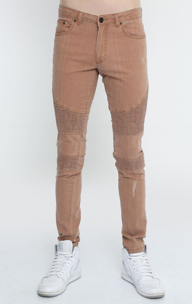 RON TOMSON - Quilted Skinny Washed Moto Jeans  - Brown - RNT23 - 1