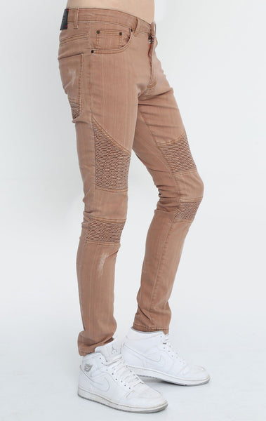 RON TOMSON - Quilted Skinny Washed Moto Jeans  - Brown - RNT23 - 2