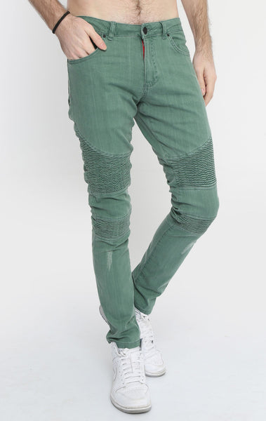 RON TOMSON - Quilted Skinny Washed Moto Jeans  - Green - RNT23 - 2