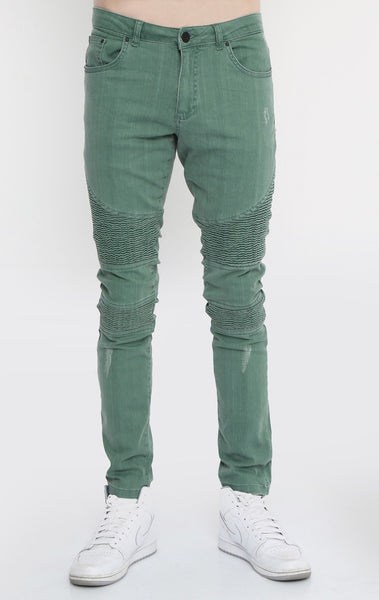 RON TOMSON - Quilted Skinny Washed Moto Jeans  - Green - RNT23 - 1