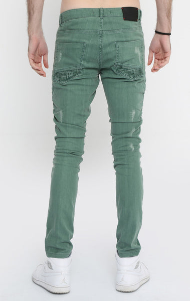 RON TOMSON - Quilted Skinny Washed Moto Jeans  - Green - RNT23 - 3