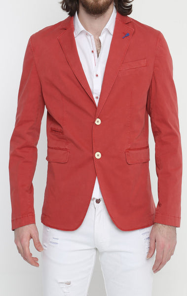 RON TOMSON - Lightweight Fitted Cotton Blazer - Red - RNT23 - 1