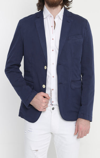 RON TOMSON - Lightweight Fitted Cotton Blazer - Navy - RNT23 - 1