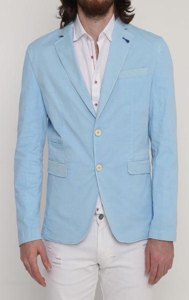 RON TOMSON - Lightweight Fitted Cotton Blazer - Ice Blue - RNT23 - 1