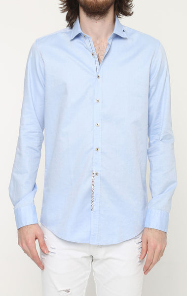 RON TOMSON - Ron Tomson Brand Stitch Detail Casual Cotton Shirt - Blue - RNT23 - 1