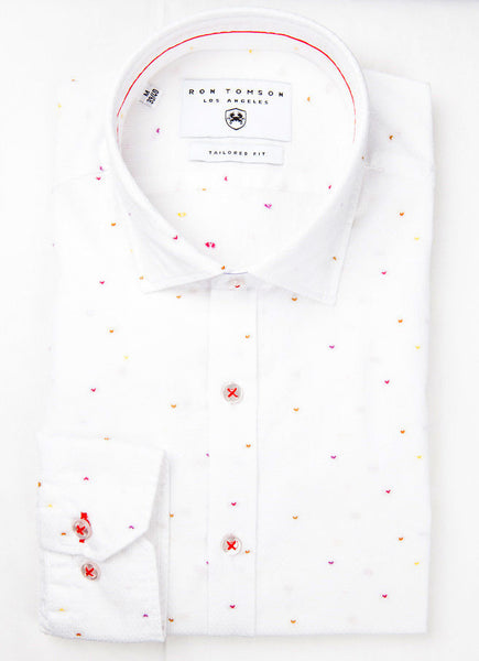 RON TOMSON - Emroidered Slim Fit Cotton Shirt - RNT23 - 1