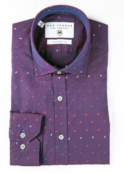 RON TOMSON - Embroidered Splash Slim Fit Cotton Shirt - RNT23