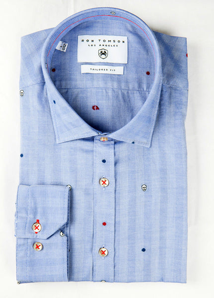 RON TOMSON - Embroidered Slim Fit Cotton Shirt - RNT23 - 1