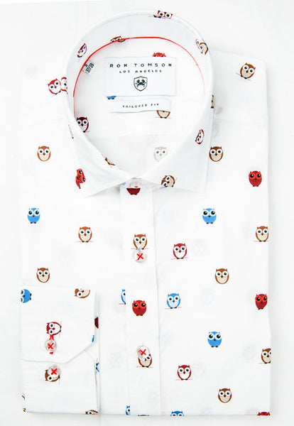 RON TOMSON - Slim Fit Cotton Multi Owl Shirt - RNT23 - 1