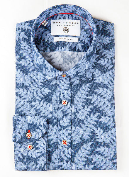 RON TOMSON - Slim Fit Cotton Leaves Shirt - RNT23 - 1