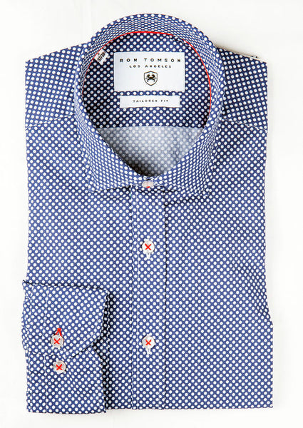 RON TOMSON - Slim Fit Cotton Polka Dot Shirt - RNT23 - 1