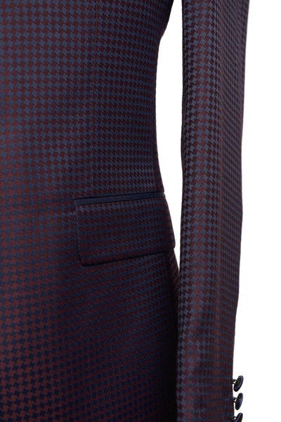 RON TOMSON - Contrast Peak Lapel All Over Houndstooth Tuxedo - RNT23 - 3
