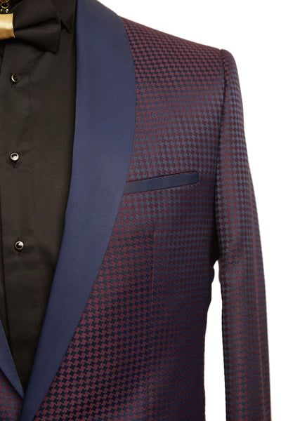 RON TOMSON - Contrast Shawl Lapel All Over Hounstooth Tuxedo - RNT23 - 2