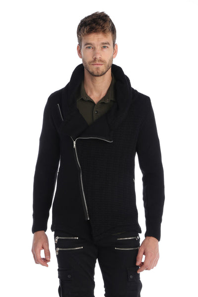 Asymmetric Closure Hooded Zipper Cardigan