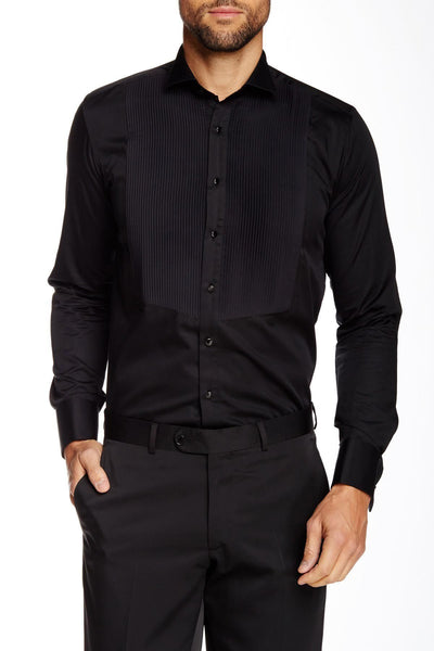 RON TOMSON - Pleated Front Tuxedo Shirt - Black - RNT23