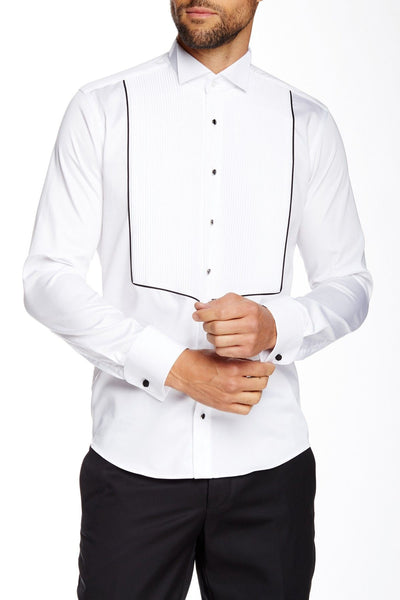 RON TOMSON - Pleated Front Tuxedo Shirt - White - RNT23 - 1