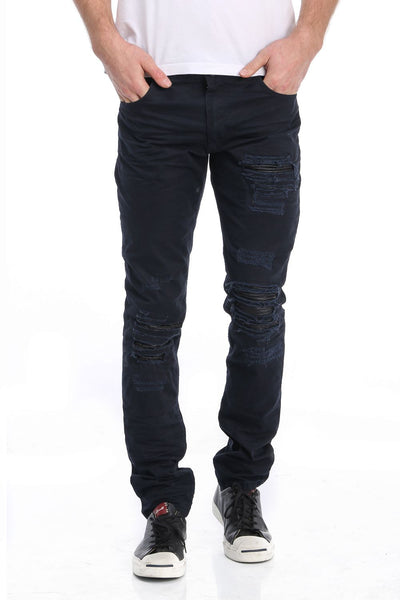 RON TOMSON - Ripped and Patched Regular Fit Jeans - Navy - RNT23 - 1