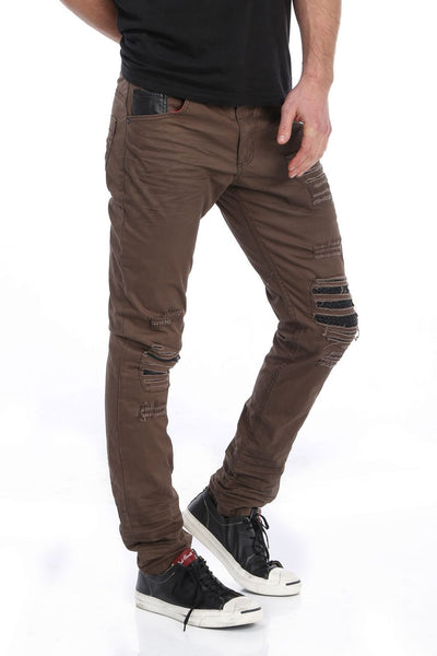 RON TOMSON - Ripped and Patched Regular Fit Jeans - Dark Brown - RNT23 - 2
