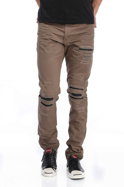 RON TOMSON - Ripped and Patched Regular Fit Jeans - Brown - RNT23 - 1