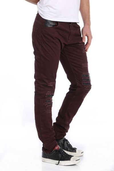 RON TOMSON - Ripped and Patched Regular Fit Jeans - Burgundy - RNT23 - 2