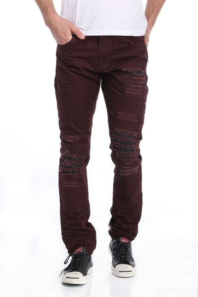 RON TOMSON - Ripped and Patched Regular Fit Jeans - Burgundy - RNT23 - 1