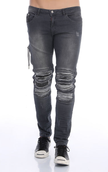 RON TOMSON - Heavy Distressed Ribbed Moto Biker Jeans - Grey - RNT23 - 1