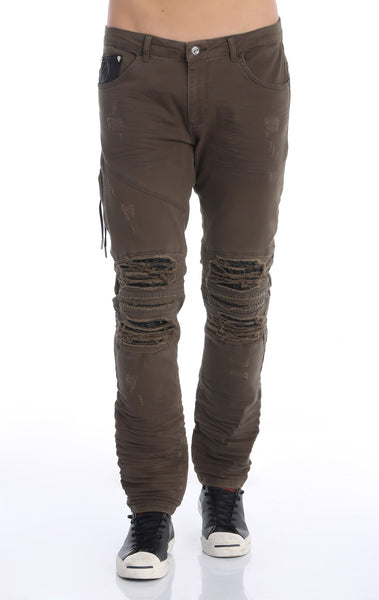 RON TOMSON - Heavy Distressed Ribbed Moto Biker Jeans - Green - RNT23 - 1