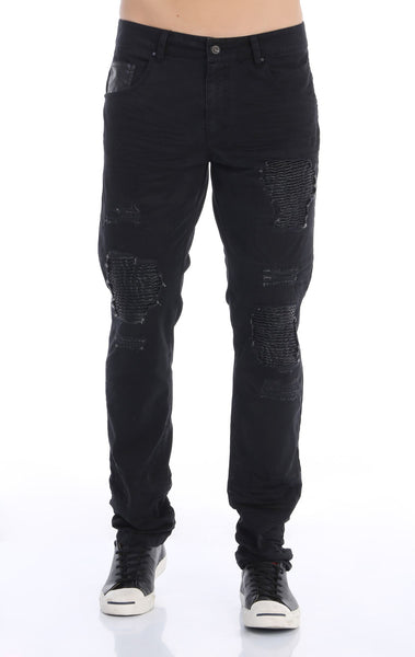 RON TOMSON - Ripped and Patched Regular Fit Jeans - Black - RNT23 - 1